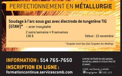 Soudage à l'arc sous gaz avec électrode de tungstène TIG (GTAW)* – acier inoxydable
